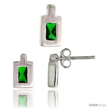 Sterling Silver Matte-finish Rectangular Earrings (9mm tall) & Pendant (11mm  - $42.76
