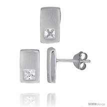 Sterling Silver Matte-finish Rectangular Earrings (10mm tall) & Pendant Slide  - $46.36
