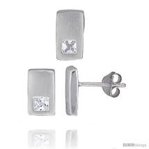 Sterling Silver Matte-finish Rectangular Earrings (10mm tall) & Pendant ... - $46.36