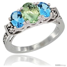 Size 8.5 - 14K White Gold Natural Green Amethyst & Swiss Blue Topaz Ring  - $716.70
