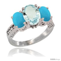 K white gold ladies natural aquamarine oval 3 stone ring turquoise sides diamond accent thumb200