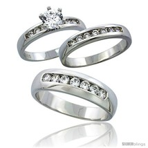 Size 9 - Sterling Silver Cubic Zirconia Trio Engagement Wedding Ring Set... - $112.11