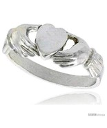 Size 6.5 - Sterling Silver Fenian Claddagh Ring without Crown 1/4 in  - £15.64 GBP