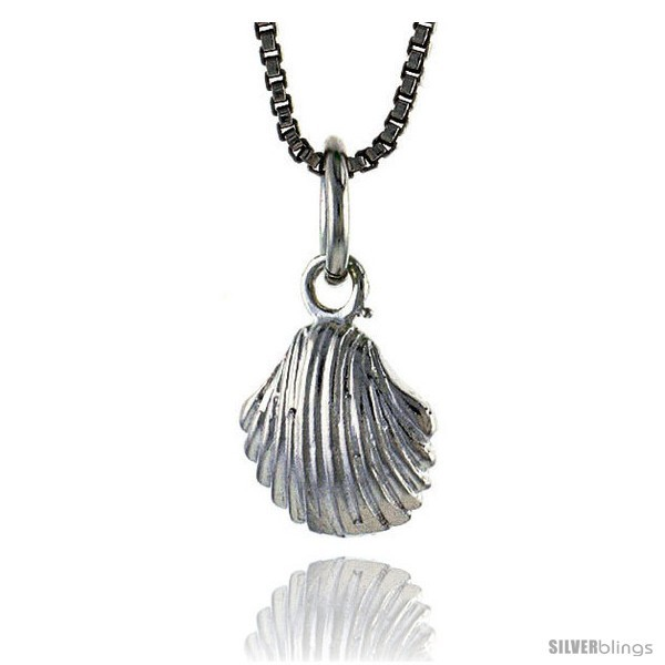 Sterling silver clam shell pendant 3 8 in tall