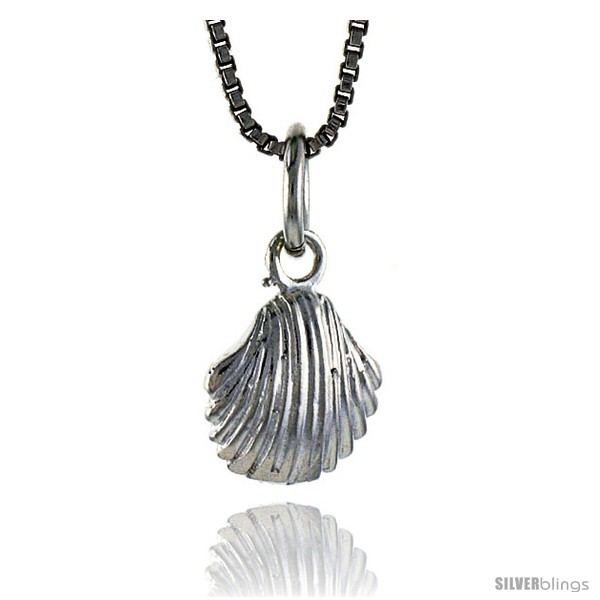 Sterling Silver Clam Shell Pendant, 3/8 in