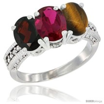 An item in the Jewelry & Watches category: Size 9 - 10K White Gold Natural Garnet, Ruby & Tiger Eye Ring 3-Stone Oval 7x5
