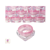 50 Small Square Cosmetic Containers Lip Balm Jars Pot Pink Lids 3 Gram M... - $47.95