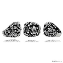 Size 10 - Sterling Silver Skull yard Gothic Biker Ring, 1 in  - $143.82