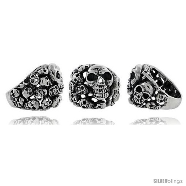 Sterling silver skull yard gothic biker ring 1 in wide