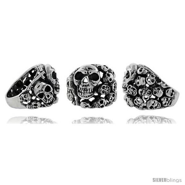 Size 9 - Sterling Silver Skull yard Gothic Biker Ring, 1 in