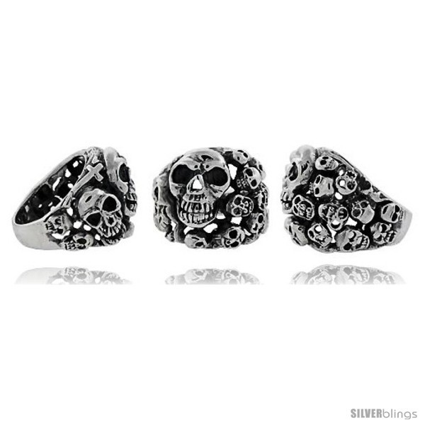 Size 11 - Sterling Silver Skull yard Gothic Biker Ring, 1 in