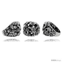 Size 12 - Sterling Silver Skull yard Gothic Biker Ring, 1 in  - £89.29 GBP