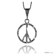 Sterling Silver Large Peace Sign Pendant7/8 in  - $49.91
