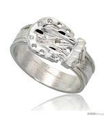 Size 8 - Sterling Silver Belt Buckle Ring Polished finish 3/8 in  - £25.17 GBP