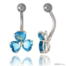 Shamrock Belly Button Ring with Blue Topaz Cubic Zirconia on Sterling Si... - $33.05