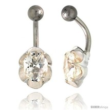 Flower Belly Button Ring with Clear Cubic Zirconia on Sterling Silver  - $33.05