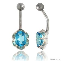 Flower Belly Button Ring with Blue Topaz Cubic Zirconia on Sterling Silver  - $33.05
