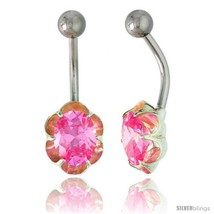 Flower Belly Button Ring with Pink Cubic Zirconia on Sterling Silver  - $33.05