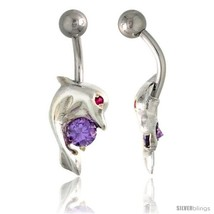 Dolphin Belly Button Ring with Amethyst Cubic Zirconia on Sterling Silver  - $33.05