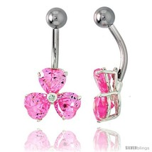 Shamrock Belly Button Ring with Pink Cubic Zirconia on Sterling Silver  - $33.05