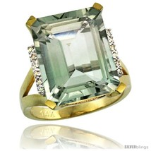 Size 10 - 14k Yellow Gold Diamond Green-Amethyst Ring 12 ct Emerald Cut ... - $701.81