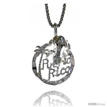 Sterling Silver Puerto Rico Pendant, 5/8 in  - $33.20