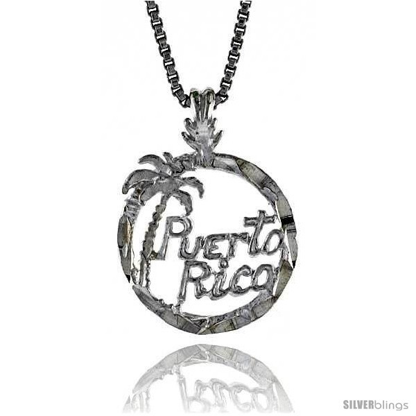 Sterling silver puerto rico pendant 1 2 in tall
