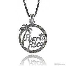 Sterling Silver Puerto Rico Pendant, 1/2 in  - $31.36