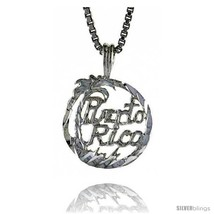 Sterling Silver Puerto Rico Pendant, 1/2 in Tall -Style  - $30.42