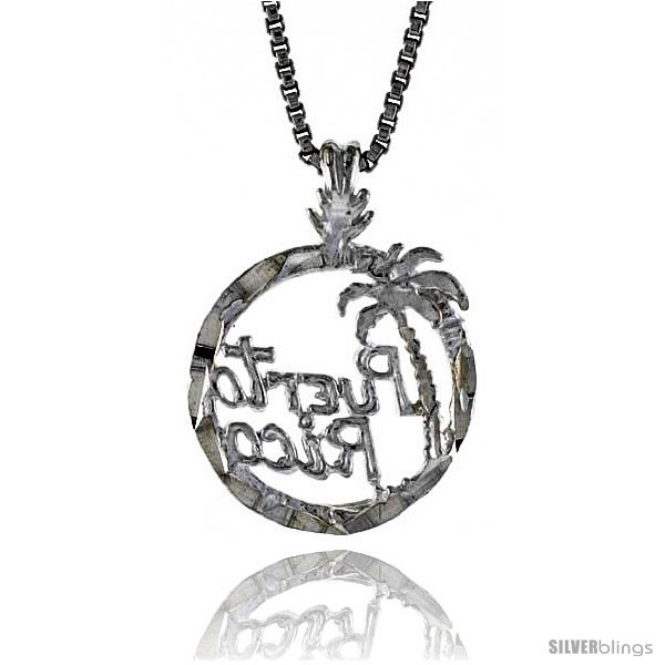 Sterling Silver Puerto Rico Pendant, 1/2 in