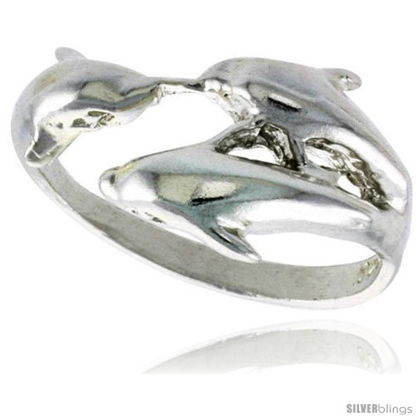 Sterling silver triple dolphin ring polished finish 1 2 in wide