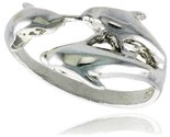Sterling silver triple dolphin ring polished finish 1 2 in wide thumb155 crop