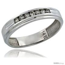 Size 8 - 14k White Gold 7-Stone Men's Diamond Ring Band w/ 0.21 Carat Br... - $552.34