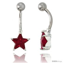 Star Belly Button Ring with Red Cubic Zirconia on Sterling Silver  - $33.05