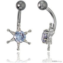 Sun Face Belly Button Ring with Clear Cubic Zirconia on Sterling Silver  - $33.05