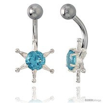 Sun Face Belly Button Ring with Blue Topaz Cubic Zirconia on Sterling Si... - $33.05