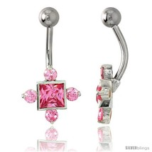 Fancy Star Belly Button Ring with Pink Cubic Zirconia on Sterling Silver  - $33.05