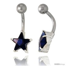 Star Belly Button Ring with Blue Sapphire Cubic Zirconia on Sterling Silver  - $33.05