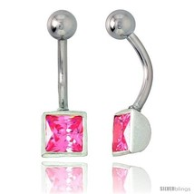 Belly Button Ring with Pink Princess Cut Cubic Zirconia on Sterling Silver  - $33.05