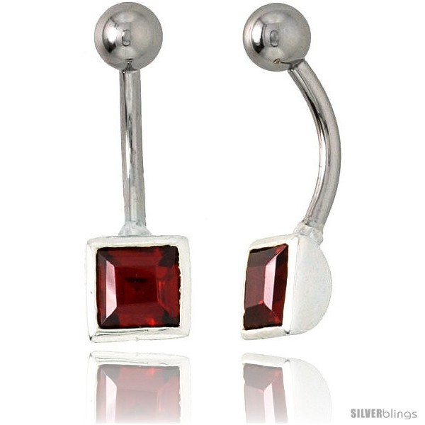 Primary image for Belly Button Ring with Ruby Red Princess Cut Cubic Zirconia on Sterling Silver