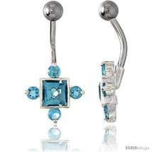 Fancy Star Belly Button Ring with Blue Topaz Cubic Zirconia on Sterling Silver  - $33.05