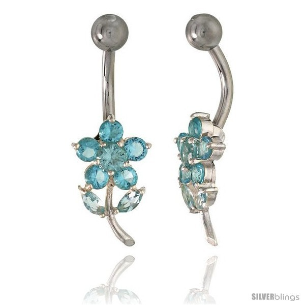 Primary image for Flower Belly Button Ring with Blue Topaz Cubic Zirconia on Sterling Silver
