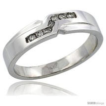 Size 11 - 14k White Gold Men's Diamond Ring Band w/ 0.13 Carat Brilliant Cut  - $691.18