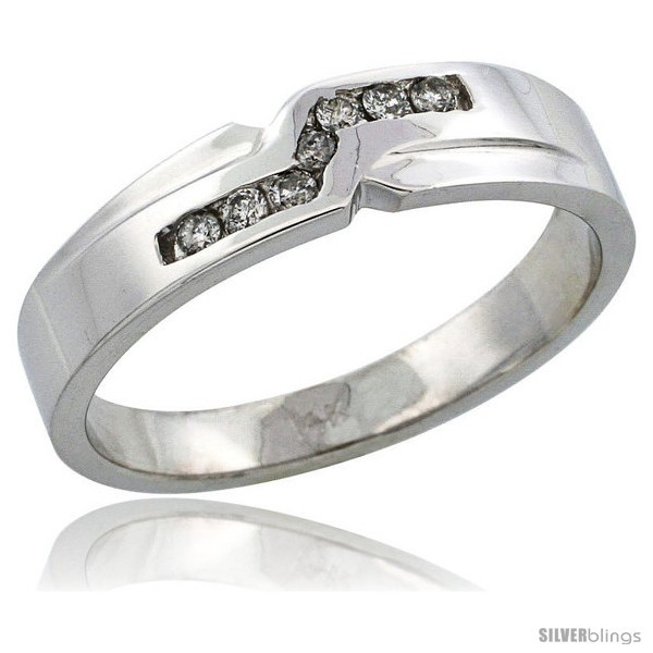 Primary image for Size 11 - 14k White Gold Men's Diamond Ring Band w/ 0.13 Carat Brilliant Cut
