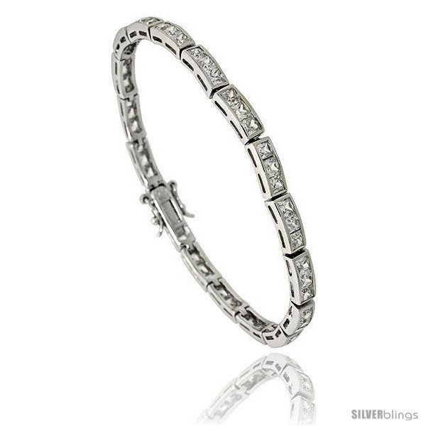 Primary image for Sterling Silver 8.75 ct. size 3-Stone Channel Set CZ Bracelet, 7 in., 5/32 in