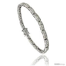 Sterling Silver 8.75 ct. size 3-Stone Channel Set CZ Bracelet, 7 in., 5/... - $86.22
