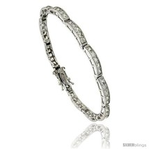 Sterling Silver 9 Carat 5-Stone Channel Set CZ Tennis Bracelet, 7 in., 5... - $86.22