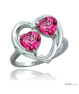 Size 9 - 10K White Gold Heart Ring 6 mm Natural Pink Topaz Stones Diamond  - $219.72