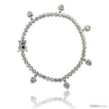 Sterling Silver 4.25 ct. size CZ Tennis Bracelet w/ Dangling Hearts, 7 in., 1/8  - $86.22
