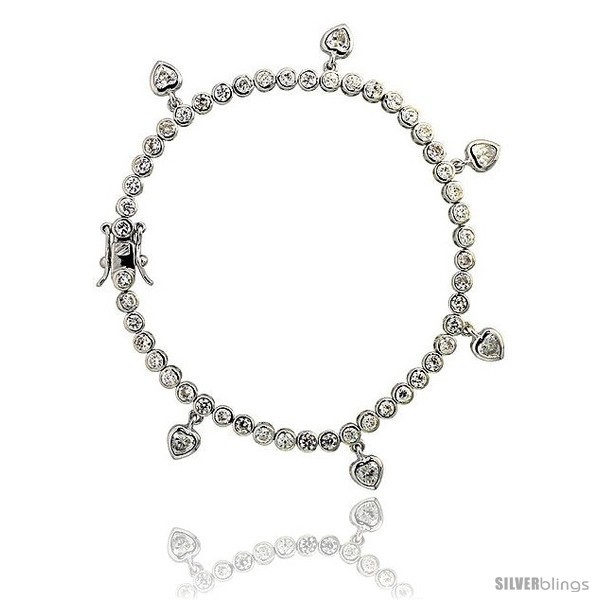 Primary image for Sterling Silver 4.25 ct. size CZ Tennis Bracelet w/ Dangling Hearts, 7 in., 1/8
